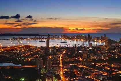 Cartagena, Colombia at night