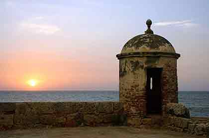 Scenic Sunset View from the historical walls of Old City, Cartagena